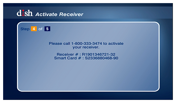 receiver and smartcard numbers on screen for reference when you call