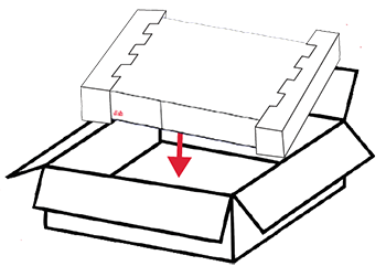 pack old receiver in foam end pieces and seal into return box