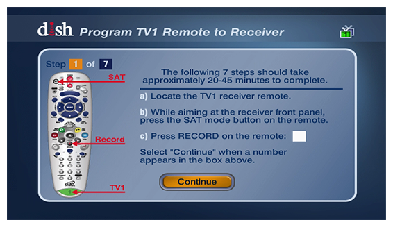 program TV 1 remote to receiver with on-screen instructions