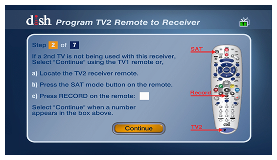 program TV 2 remote to receiver with on-screen instructions