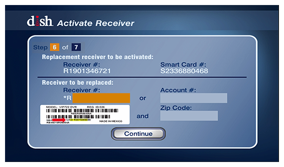 receiver and smartcard numbers on screen to activate the receiver yourself
