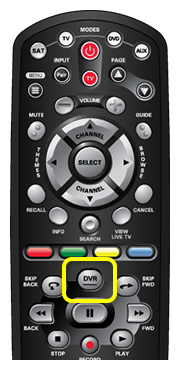 DVR button on 40.0 remote (center of the remote with a raised horizontal line on the button.)