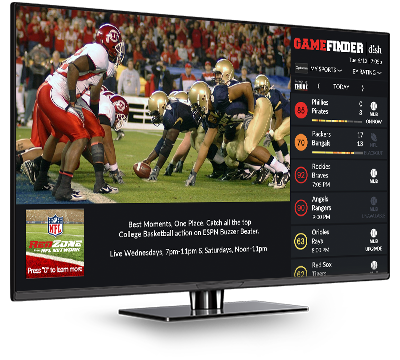 DISH Game Finder app on a TV