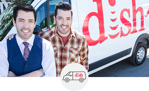 Property Brothers in front of a DISH Technician van