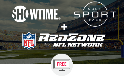 Showtime, Multi-Sport Pack, and NFL RedZone logos