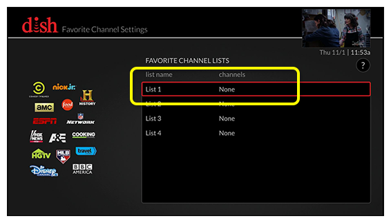 list of favorite channel lists (Use the remote control to move up and down through the list of options.)