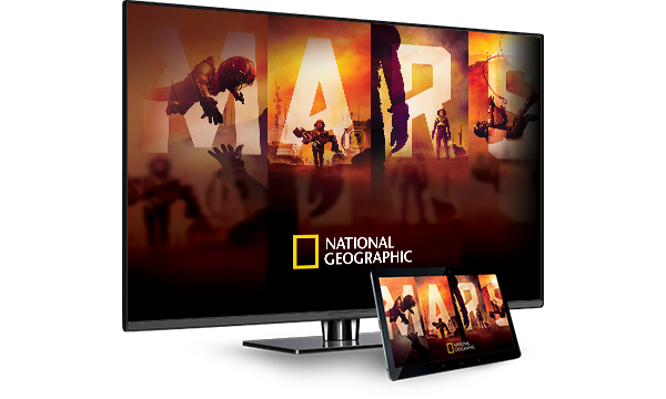 National Geographic's MARS on a TV and on a tablet