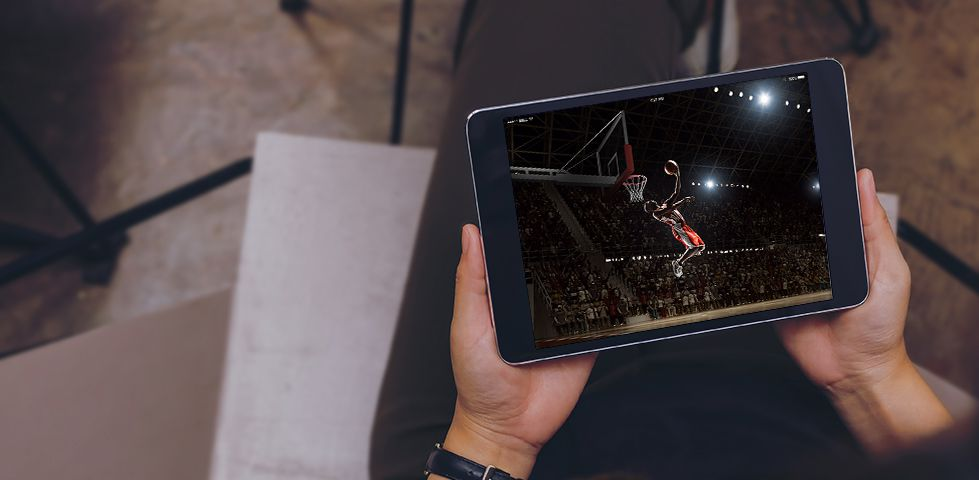 watching basketball on a tablet