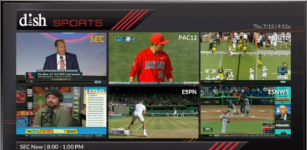 six college football games playing on screen at once