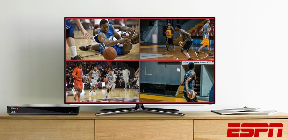 four basketball games playing at once on the TV with Customizable Multi-View.