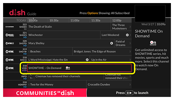 On Demand Showtime channel in DISH channel guide