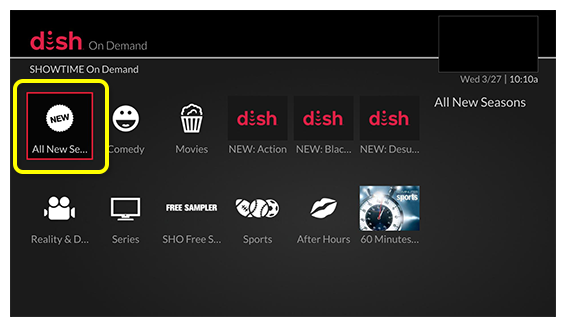 Showtime's On Demand screen