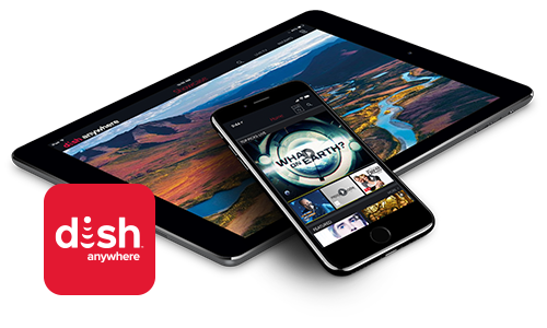 DISH Anywhere app on an iPhone and tablet