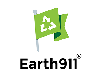 Earth 911 logo: green flag with recycling symbol