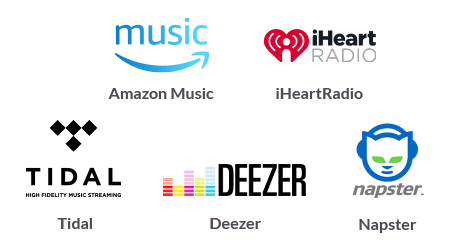 Logos for Amazon Music, iHeart Radio, Tidal, Deezer, and Napster
