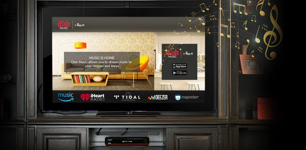 DISH music app on TV screen in an entertainment center