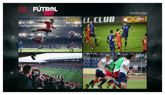 Multi-channel view including Futbol 360 games