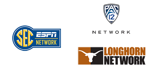 Logos for Pac-12 Network, SEC ESPN Nework, and Longhorn Network