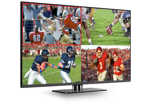 Four football games playing on screen at the same time with DISH Multi-View