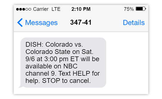 Text message notification of upcoming college game