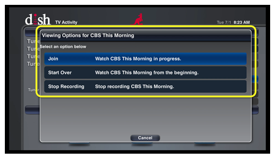 list of viewing options