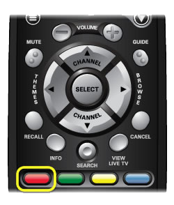 red color button on the 40.0 remote (The red color button is the far left button in a row of four buttons in the middle of the remote.)