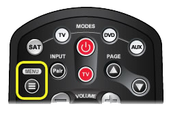 Menu button on 40.0 remote (first button in the second row of buttons)