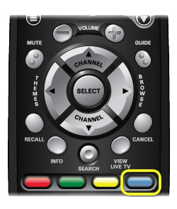 Blue color button on 40.0 remote (far left on row of buttons in center of remote