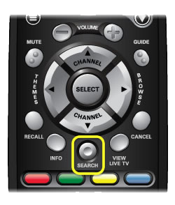 Search button on 40.0 remote (short and concave button in the middle of the remote, above the row of 4 color buttons)