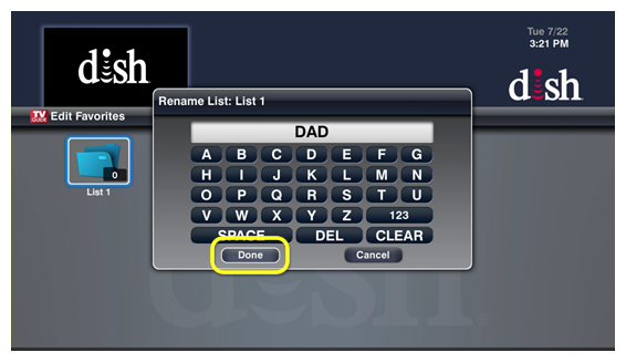 On-screen keyboard for text entry on the left side of the screen with a done button on the right
