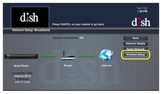 Wireless Setup button on the Network Setup screen