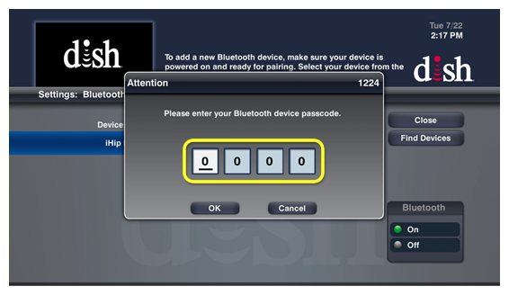Enter bluetooth password pop up