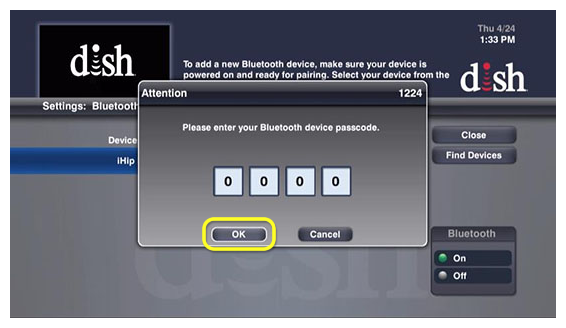Enter bluetooth password pop up with OK button