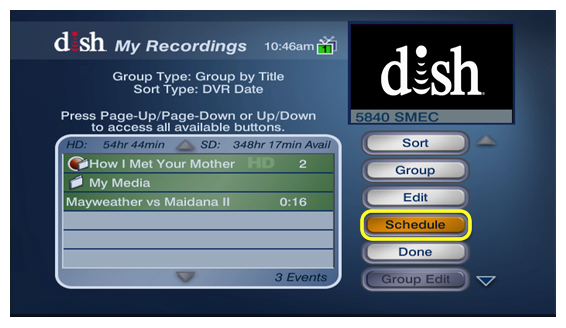 Schedule button to the side of current recordings