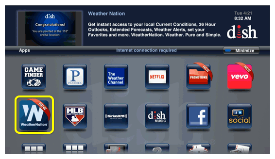 Weather Nation app icon (use the remote to move through the grid of menu options)