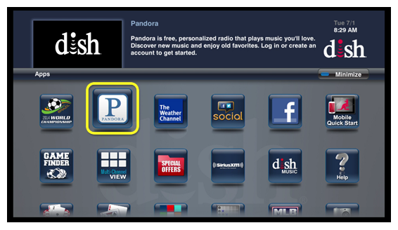 Pandora app icon (use the remote to move through the grid of menu options)